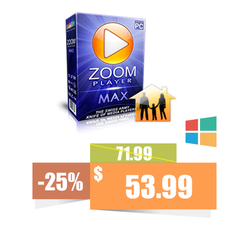 Zoom Player MAX 3xFamily Pack (1 Year)