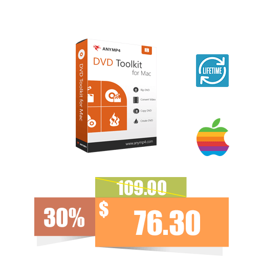 AnyMP4 DVD Toolkit for Mac (Lifetime License) 30% discount